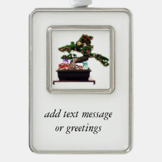 Bonsai Christmas Tree Silver Plated Framed Ornament