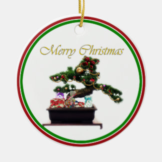 Bonsai Christmas Tree Round Ceramic Decoration