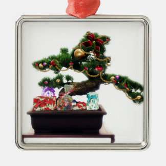 Bonsai Christmas Tree Silver-Colored Square Decoration