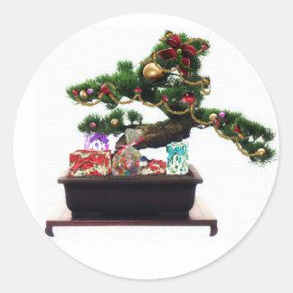 Bonsai Christmas Tree Round Stickers