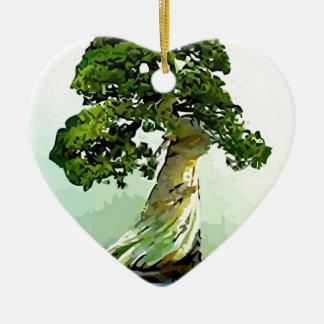 Bonsai Cypress Tree Ceramic Heart Decoration