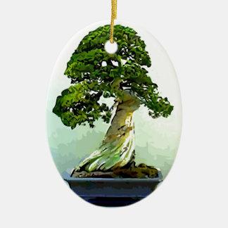 Bonsai Cypress Tree Ceramic Oval Decoration