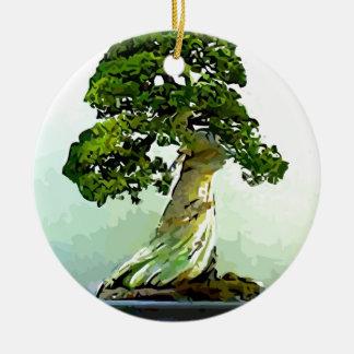 Bonsai Cypress Tree Round Ceramic Decoration