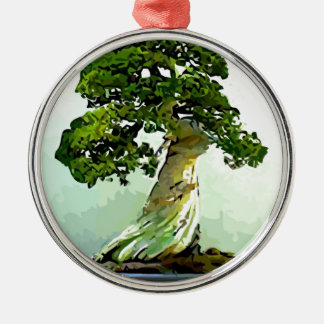 Bonsai Cypress Tree Silver-Colored Round Decoration