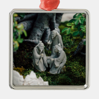 Bonsai Figurines Silver-Colored Square Decoration