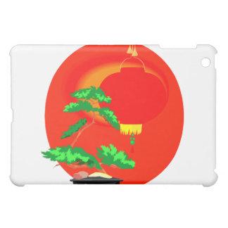 Bonsai Graphic with sun and lantern behind iPad Mini Cover
