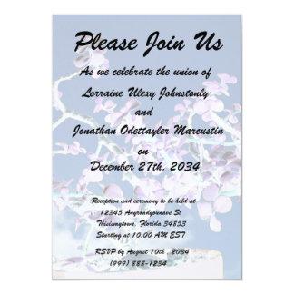 Bonsai inverted purple white against sky portulaca card