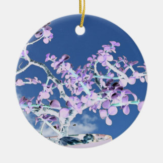 Bonsai inverted purple white against sky portulaca round ceramic decoration