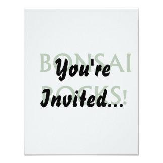 Bonsai Rocks Slogan saying done in Green Text Custom Invitations