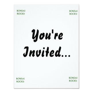 Bonsai Rocks Slogan saying done in Green Text Personalized Invitation