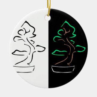 bonsai round ceramic decoration