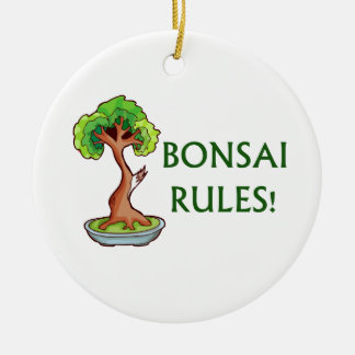 Bonsai Rules Shari Tree Graphic and text design Round Ceramic Decoration