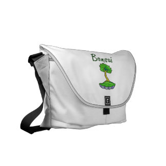 Bonsai text upright tree graphic courier bag