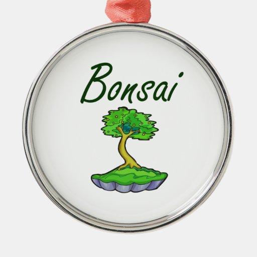 Bonsai text upright tree graphic ornament