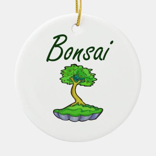 Bonsai text upright tree graphic christmas tree ornament