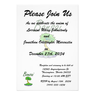 Bonsai text upright tree graphic personalized announcements