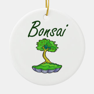 Bonsai text upright tree graphic round ceramic decoration