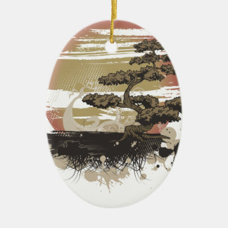 Bonsai Tree Ceramic Oval Decoration