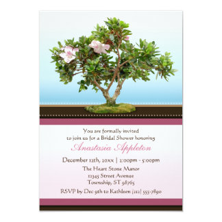 Bonsai Tree Flowers Bridal Shower Invitations