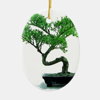bonsai-tree Painting Ceramic Oval Decoration