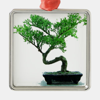 bonsai-tree Painting Silver-Colored Square Decoration