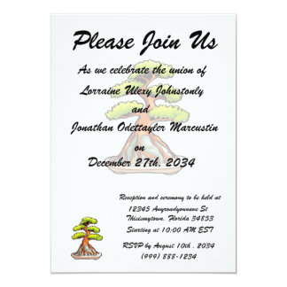bonsai tree root over rock graphic 13 cm x 18 cm invitation card