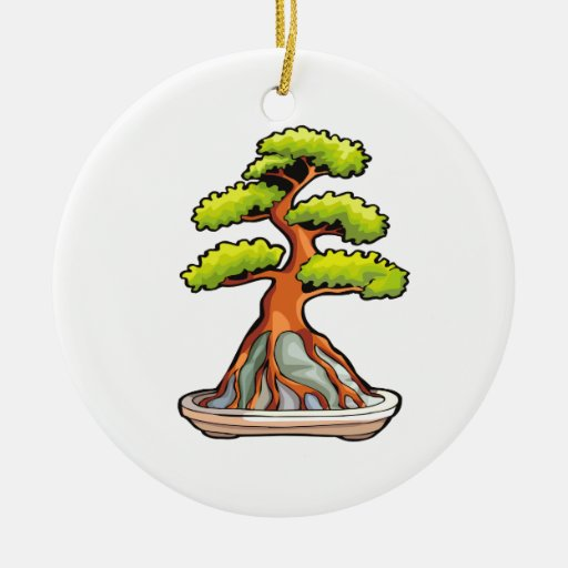 bonsai tree root over rock graphic christmas tree ornaments