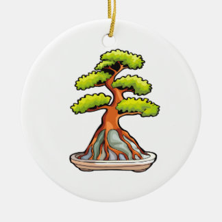 bonsai tree root over rock graphic round ceramic decoration