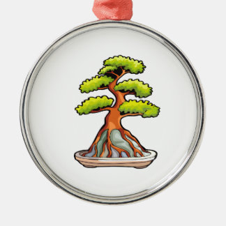 bonsai tree root over rock graphic Silver-Colored round decoration