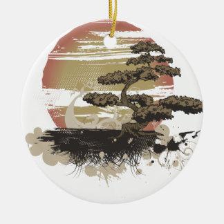 Bonsai Tree Round Ceramic Decoration
