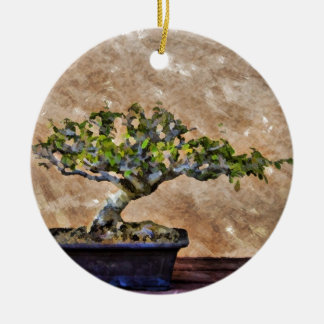 Bonsai Tree Round Ceramic Decoration