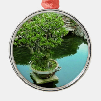 Bonsai tree Silver-Colored round decoration