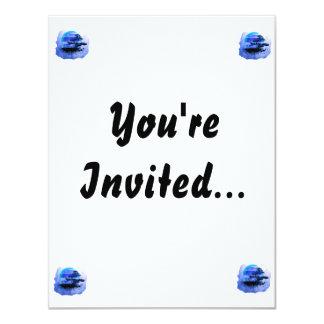 Bonsai Vintage Graphic Blue Version 4.25x5.5 Paper Invitation Card
