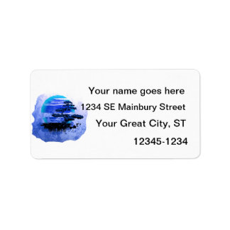 Bonsai Vintage Graphic Blue Version Address Label