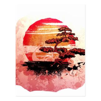 Bonsai Vintage Graphic Cool Red Version Postcard