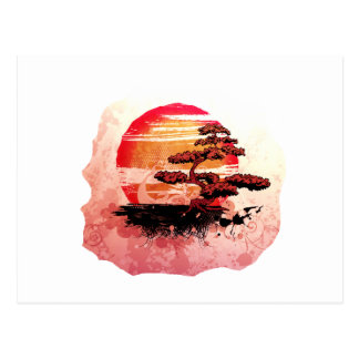 Bonsai Vintage Graphic Cool Red Version Post Card