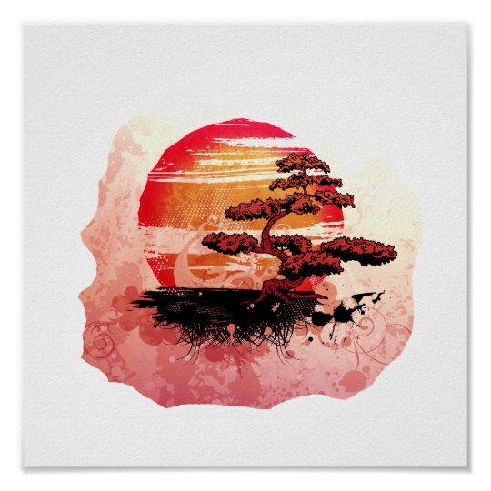 Bonsai Vintage Graphic Cool Red Version Poster