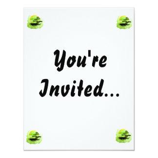 "Bonsai Vintage Graphic , Green Version 4.25"" X 5.5"" Invitation Card"