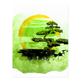 Bonsai Vintage Graphic , Green Version Postcard