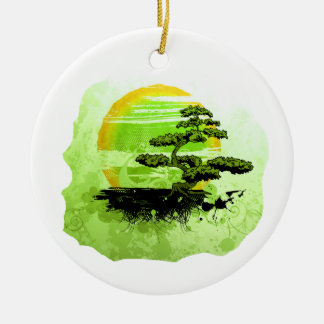 Bonsai Vintage Graphic , Green Version Round Ceramic Decoration