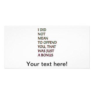 Bonus funny text photo card