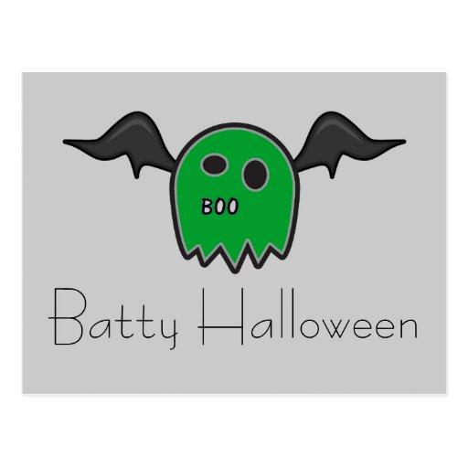 Boo Bat Green Ghost Batty Halloween Postcard