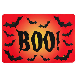 BOO! Bats on Red Floor Mat