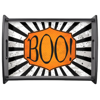 BOO! Black Grunge Stripes Halloween Serving Tray