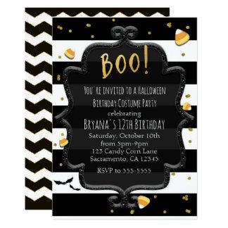 BOO! Black & White Striped Candy Corn Halloween Card