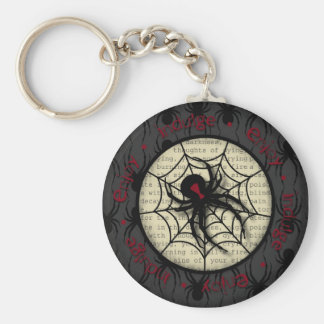 Boo Black Widow Spider & Creepy Text for Halloween Basic Round Button Key Ring