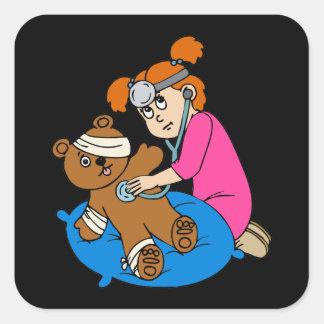 Boo-Boo Bear & Kid Doctor Square Sticker