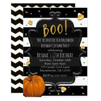 BOO! Candy Corn & Orange Pumpkin Halloween Card