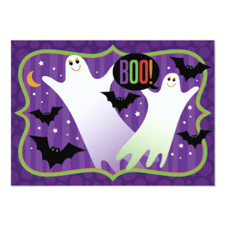 Boo! Cute Ghosts Halloween Party Invitatiion Card