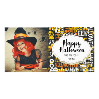Boo Eek Candy Corn Halloween Picture Photo Card